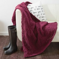 Bernat - Angled Eyelets Blanket in Bernat Blanket (downloadable PDF)