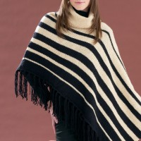 Bernat - Assymetrical Striped Poncho in Satin (downloadable PDF)