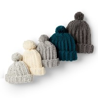 Bernat - Basic Crochet Ribbed Family Hat in Softee Chunky(downloadable PDF)