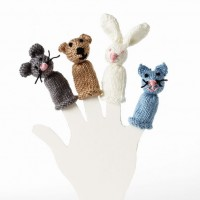 Bernat - Bear, Bunny, Kitty and Mouse Finger Puppets in Satin (downloadable PDF)