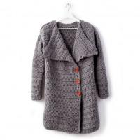 Bernat - Big Collar Crochet Coat in Roving (downloadable PDF)