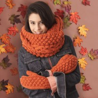 Bernat - Chill Chaser Set (Cowl and Mittens) in Softee Chunky (downloadable PDF)