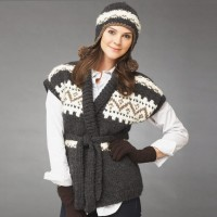 Bernat - Cold Snap Vest and Hat in Roving (downloadable PDF)