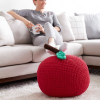 Bernat - Crocheted 'Apple A Day' Pouf in Blanket Brights, and Softee Chunky (downloadable PDF)