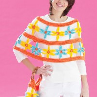 Bernat - Daisy Chain Poncho and Bag in Satin (downloadable PDF)