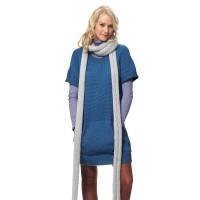 Bernat - Dress with Kangaroo Pockets and Super Long Scarf in Satin (downloadable PDF)