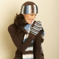Bernat - Hat, Scarf and Mittens in Satin (downloadable PDF)