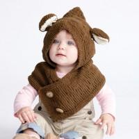 Bernat - Hooded Knit Bear Cowl in Baby Blanket Tiny (downloadable PDF)