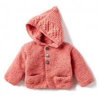 Bernat - In the Details Knit Hoodie in Baby Blanket Tiny (downloadable PDF)