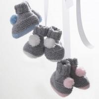 Bernat - Pompom Booties in Softee Baby  (downloadable PDF)