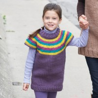 Bernat - Child's Striped Top-Down Pullover in Softee Chunky(downloadable PDF)