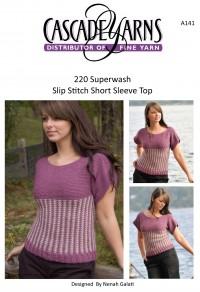 Cascade A141 - Slip Stitch Short Sleeve Top in 220 Superwash (downloadable PDF)