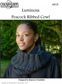Cascade A315 - Peacock Ribbed Cowl in Luminosa (downloadable PDF)