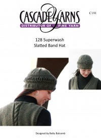 Cascade C191 - Slatted Band Hat in 128 Superwash (downloadable PDF)