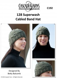 Cascade C192 - Cabled Band Hat in 128 Superwash (downloadable PDF)