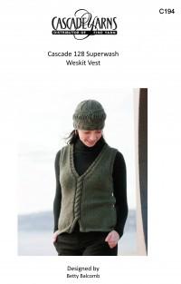 Cascade C194 - Weskit Vest in 128 Superwash (downloadable PDF)