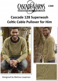 Cascade C200 - Celtic Cable Pullover for Him in 128 Superwash (downloadable PDF)