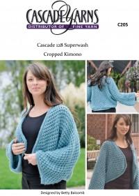 Cascade C205 - Cropped Kimono in 128 Superwash (downloadable PDF)