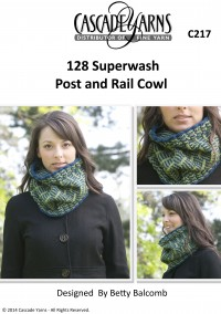 Cascade C217 - Post and Rail Cowl in 128 Superwash (downloadable PDF)