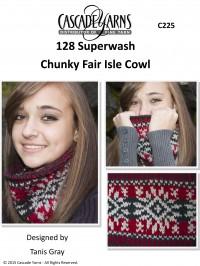 Cascade C225 - Chunky Fair Isle Cowl in 128 Superwash (downloadable PDF)
