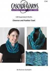 Cascade C246 - Chevron and Feather Cowl in 128 Superwash (downloadable PDF)