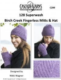 Cascade C299 - Birch Creek Fingerless Mitts & Hat in 128 Superwash (downloadable PDF)