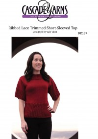 Cascade DK139 - Ribbed Lace Trimmed Short-Sleeved Top in Ultra Pima (downloadable PDF)