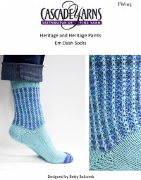 Cascade FW103 - Em Dash Socks in Heritage & Heritage Paints (downloadable PDF)