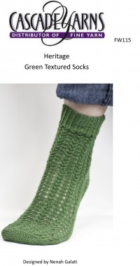Cascade FW115 - Green Textured Socks in Heritage (downloadable PDF)
