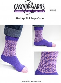 Cascade FW117 - Pink Purple Socks in Heritage (downloadable PDF)