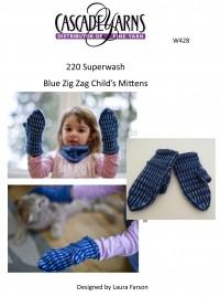 Cascade W428 - Blue Zig Zag Child's Mittens in 220 Superwash (downloadable PDF)