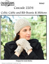 Cascade W640 - Celtic Cable and Rib Mittens & Beanie in 220 (downloadable PDF)