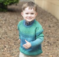 Cascade W719  - Top Down Gradient Kids Sweater in 220 Superwash Wave (downloadable PDF)