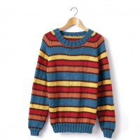 Caron - Adult's Knit Crew Neck Striped Pullover in Simply Soft (downloadable PDF)