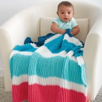 Caron - Bold Stripes Baby Blanket in Simply Soft (downloadable PDF)