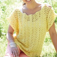 Caron - Crochet Scalloped Top in Simply Soft (downloadable PDF)