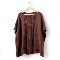 Caron - Lace Panel Knit Poncho in Simply Soft (downloadable PDF)