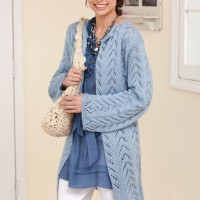 Caron - Long & Lacy Knit Jacket in Simply Soft (downloadable PDF)