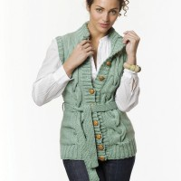 Caron - Long Cable Vest in Simply Soft Heather (downloadable PDF)