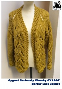 Cygnet 1007 - Barley Lace Jacket in Seriously Chunky (downloadable PDF)