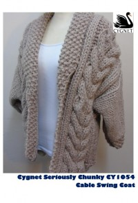 Cygnet 1054 - Chunky Cable Swing Coat in Seriously Chunky (downloadable PDF)