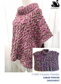 Cygnet 1072 - Cabled Poncho for Children/Adults in Utopia Chunky (downloadable PDF)