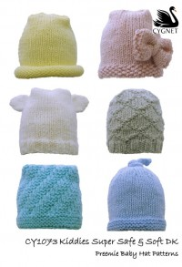 Cygnet 1073 - Preemie Baby Hats in Kiddies Super Safe and Soft (downloadable PDF)