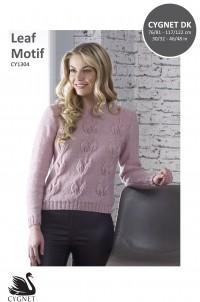 Cygnet 1304 Leaf Motif Sweater in Cygnet DK (leaflet)