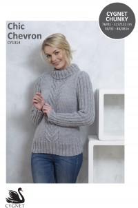 Cygnet 1314 Chic Chevron Sweater in Cygnet Chunky (leaflet)