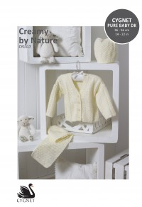 Cygnet 1317 Creamy by Nature Cardigan, Hat & Scarf in Cygnet Pure Baby DK (leaflet)