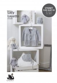 Cygnet 1319 Lacy Layette Coat, Bonnet, Bootees & Hat in Cynet Pure Baby DK (downloadable PDF)