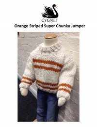 Cygnet - Orange Striped Super Chunky Jumper in Seriously Chunky (downloadable PDF)