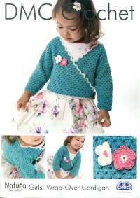DMC 14931L/2 Crochet Girls' Wrap-Over Cardigan (Leaflet)