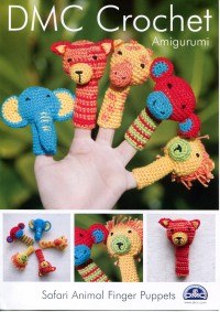 DMC 15098L/2 Crochet Safari Animal Finger Puppets (Leaflet)